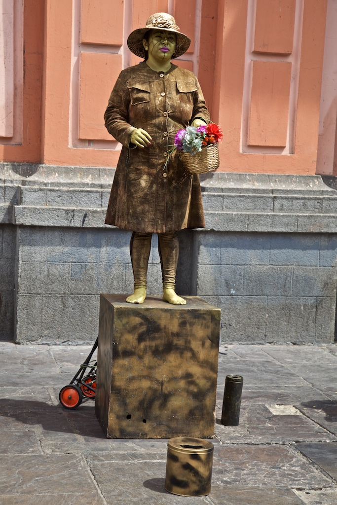 - Street Entertainment: Carrying flowers she presumably cit down using the manual lawn mower hidden behind her pedestal. Lima Peru.