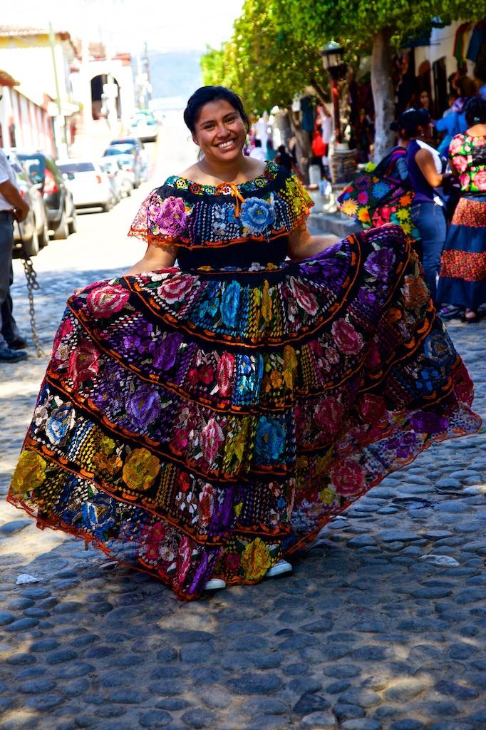 Proud Chiapaneca showing off her dress in Chiapa de Corzo, Mexico