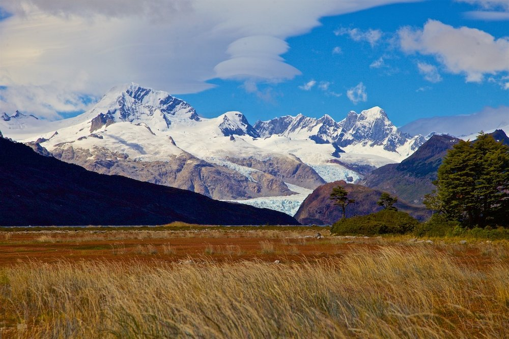 Snowcapped peaks in the Karukinka Natural Park, Chile