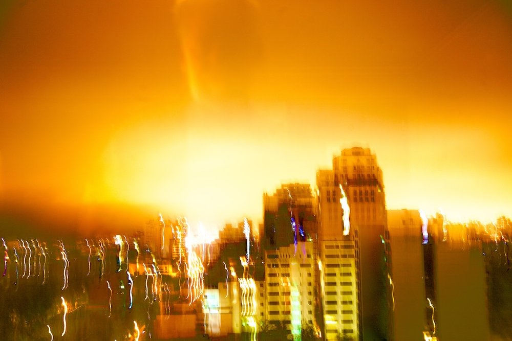 The precise moment when a yet unidentified city suffers a nuclear bomb attack.