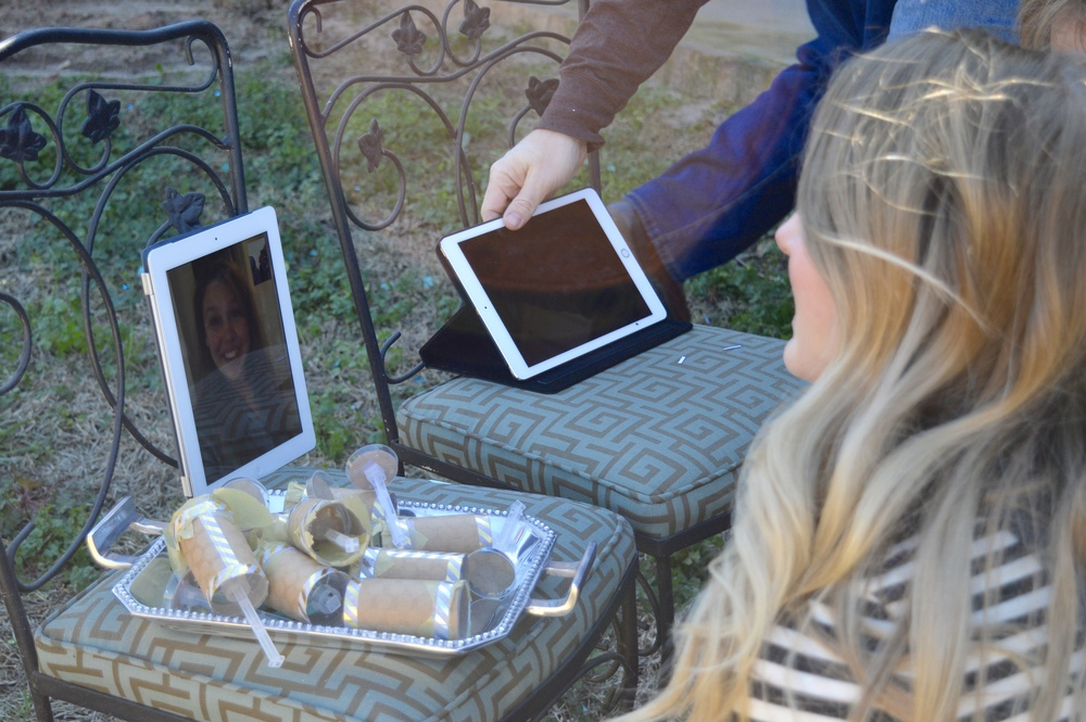 There's Maggie - attending via Facetime! Modern technology made it possible for all of our siblings who couldn't come to us to still be a part of the event.