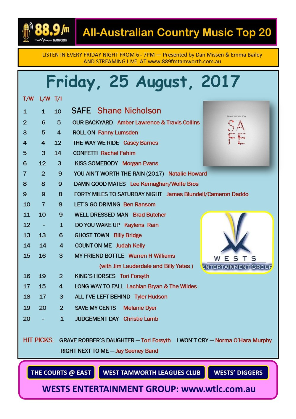 Country Music Top 20 - August 25 2017