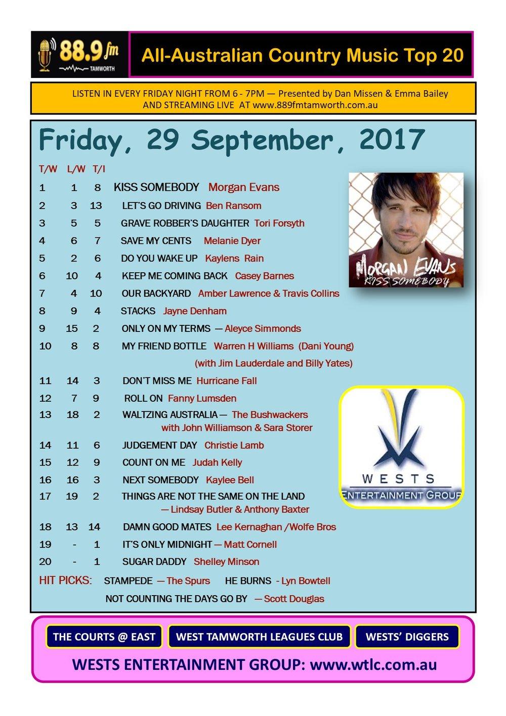 Australian Country Music Top 20 - September 29