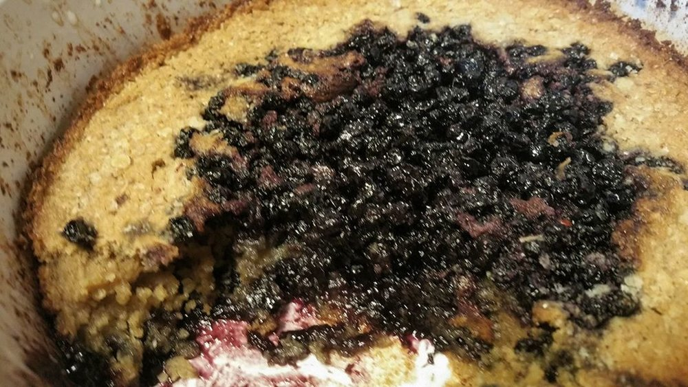O.A.T. Maine Wild Blueberry Cobbler 4 T. Butter - Melt in a 1 1/2 Q baking dish.  Mix 1 1/4 C. O.A.T. Blend with 3/4 C. Milk.  Pour evenly into baking dish to cover melted butter.  Mix 2 C. Fresh Maine Wild Blueberries with 1/2 C. Sugar and 1/3 C. water.  Spoon berries evenly over batter.  DO NOT STIR.  Sprinkle top with Sugar. Bake 30 minutes, or until toothpick comes out clean. Serve warm.  Enjoy!