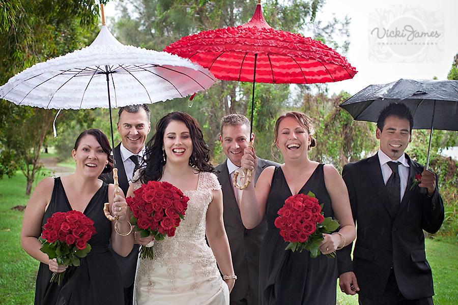 Yamba Wedding Photographer, Bridal Party with Umbrellas