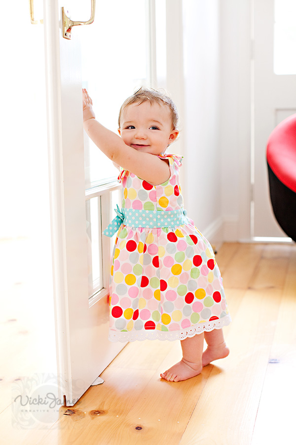 Little girl in spotty dress