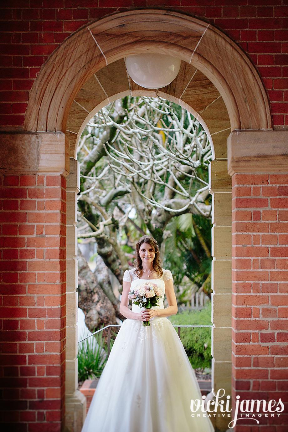 bride under an arch