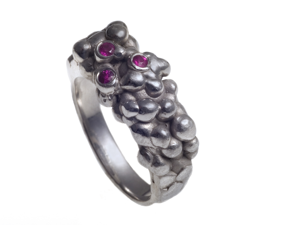 Bubble Ring  Spring 2010 Sterling silver with rubies  photo by Craig Rockwell