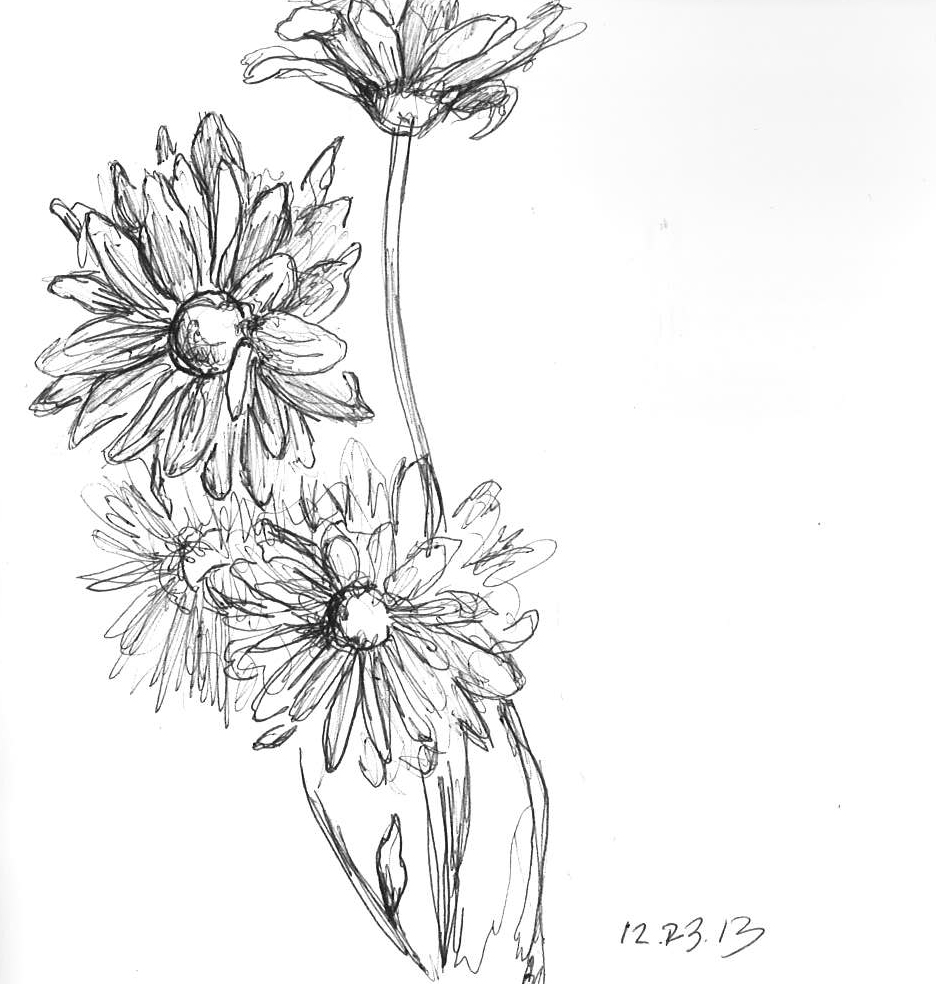 "Fleurs   December 2013   Pen on paper   6""x6"""