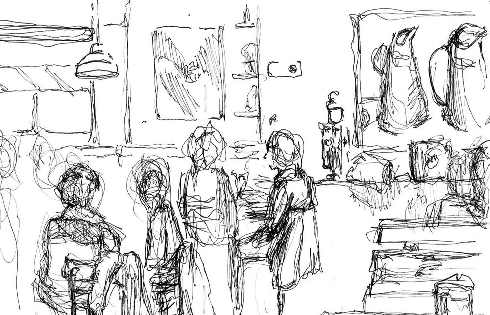 """Egg Cafe  December 2013 Pen on paper 8""""x12"""""""