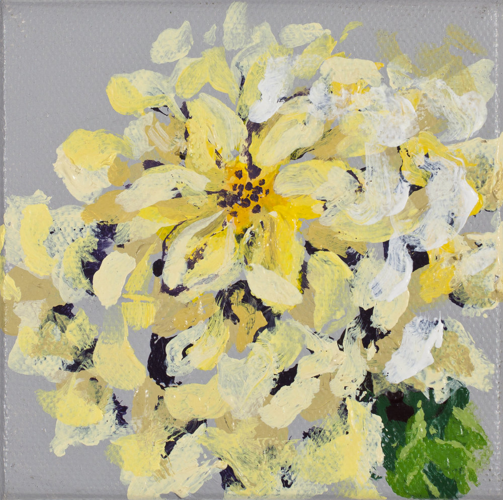 "Yellow Bloom   Fall 2016 Acrylic on canvas 4""x4""  Photo credit: David Johnson"