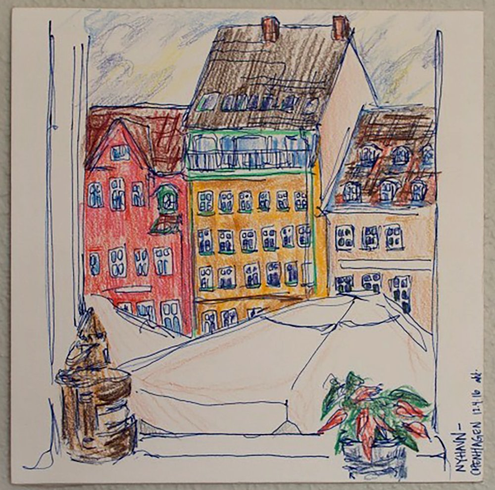 """Nyhavn  Colored pencil and ink on paper December 2016 4"""" x 6"""""""