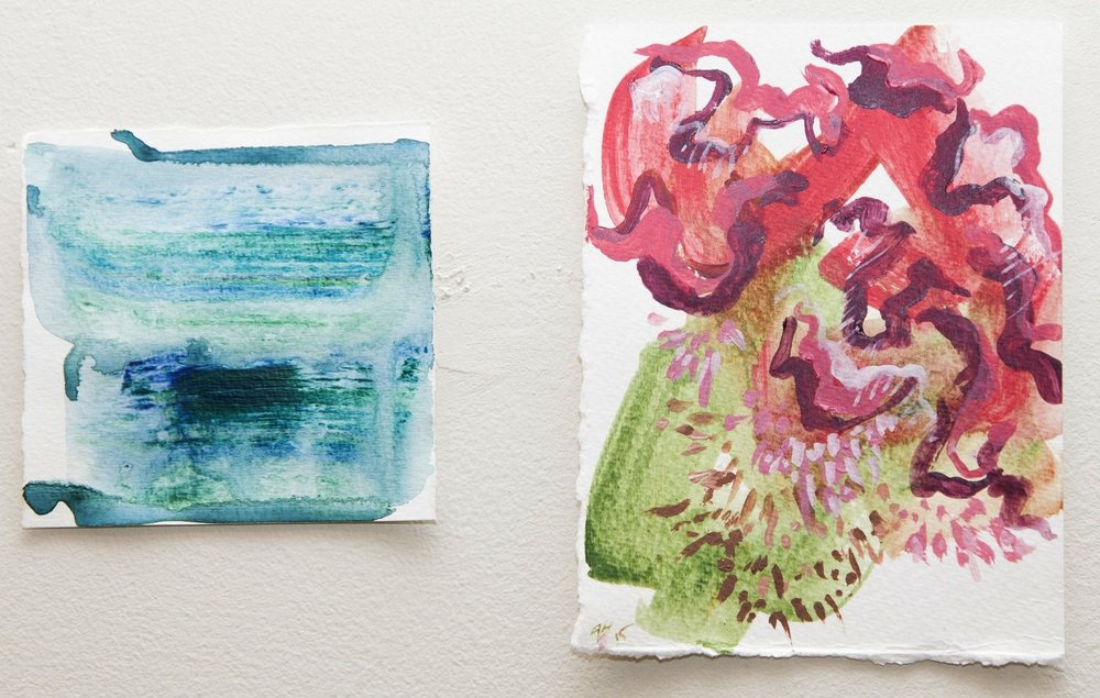 "left:  Study II  2015 Acrylic on paper 4""x4""  right:  To Market  2015 Acrylic on paper 5""x6""  photo credit: Erin Henry"