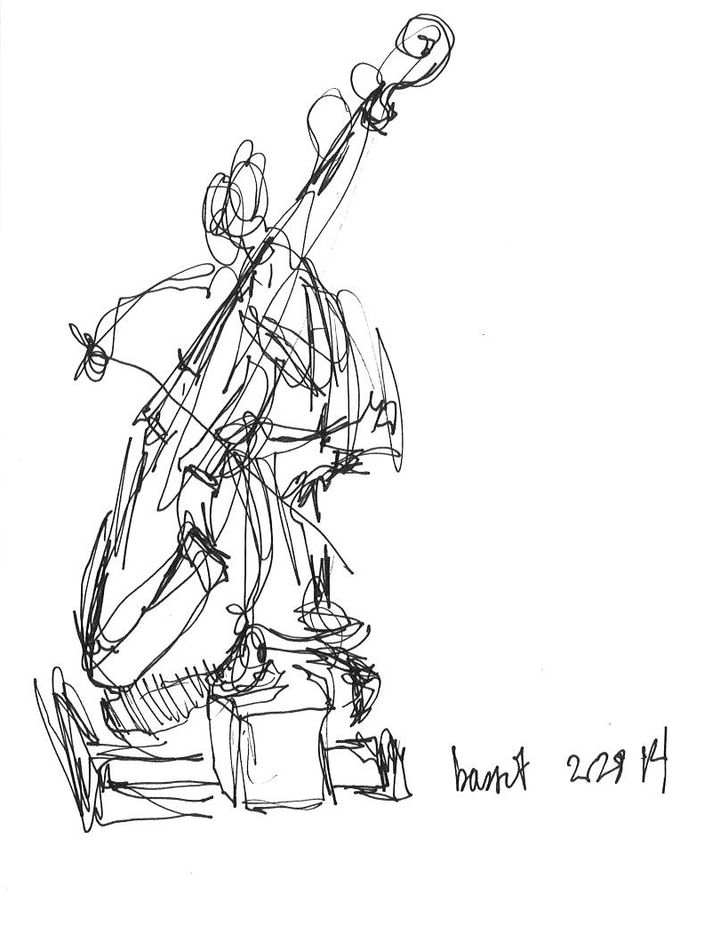 "Bassist  February 2014 Pen on paper 4""x6"""