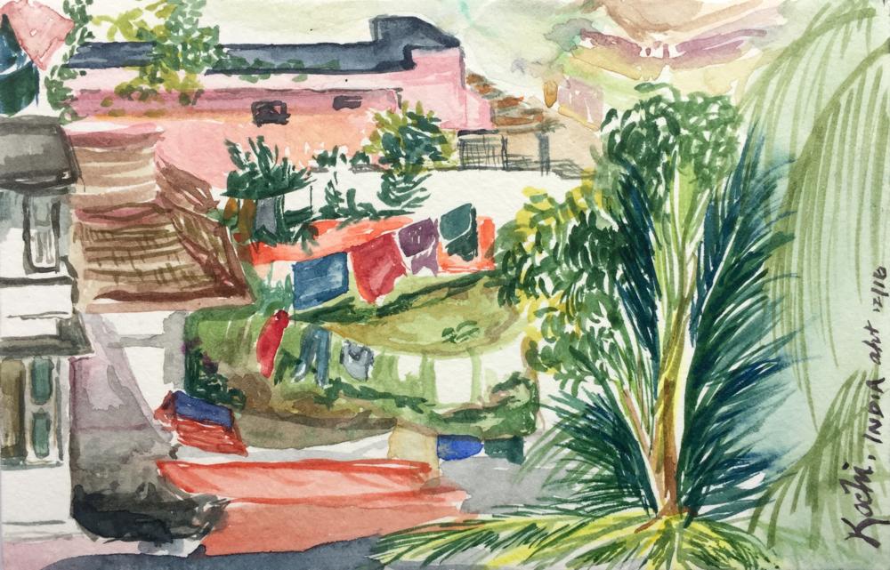 "Kochi  Watercolor on paper December 2016 4"" x 6"""