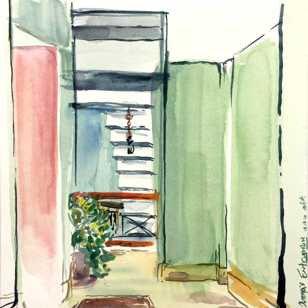 "Amma's Entryway  Watercolor on paper December 2016 8"" x 8"""
