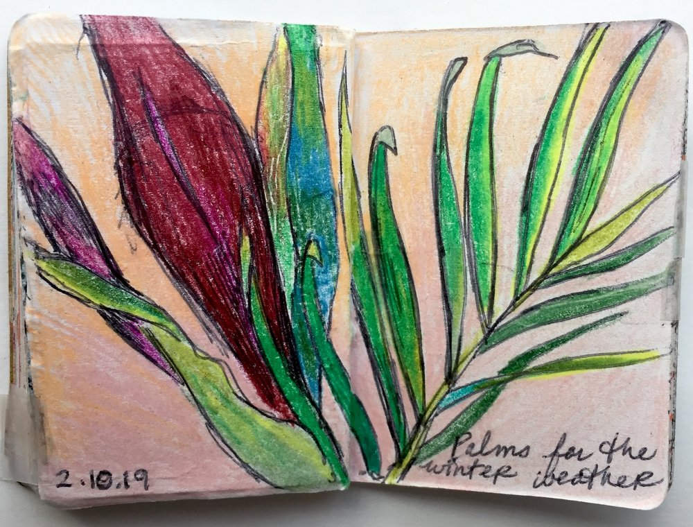 """Palms  February 2019 Pen and colored pencil on paper 2.33""""x3.32"""""""