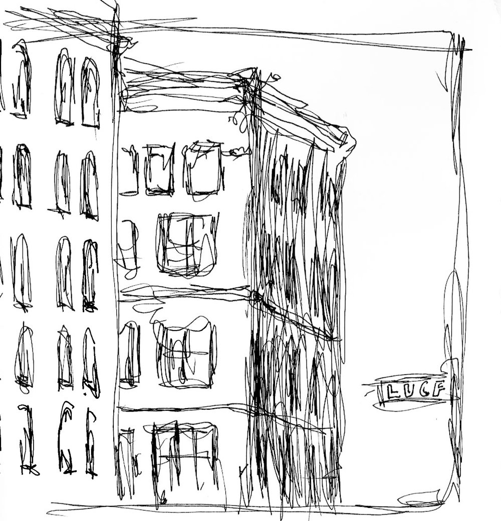 """Building at Mango   January 2014   Pen on paper   4.5""""x5"""""""