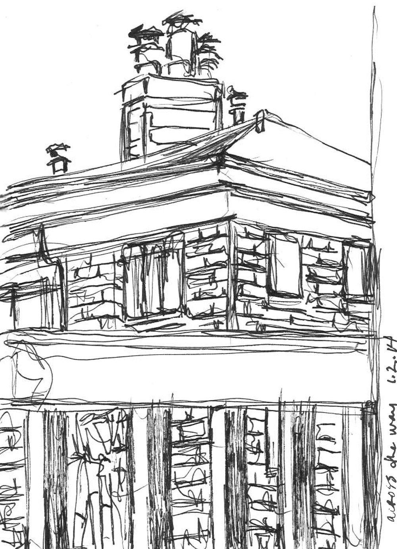 "Neighbors   Spring 2014   Pen on paper   4""x6"""