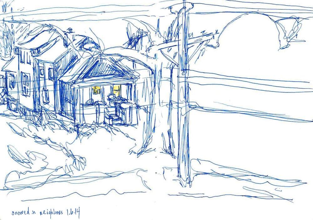 "Snowed in Neighbors  January 2014 Pen on paper 8""x12"""