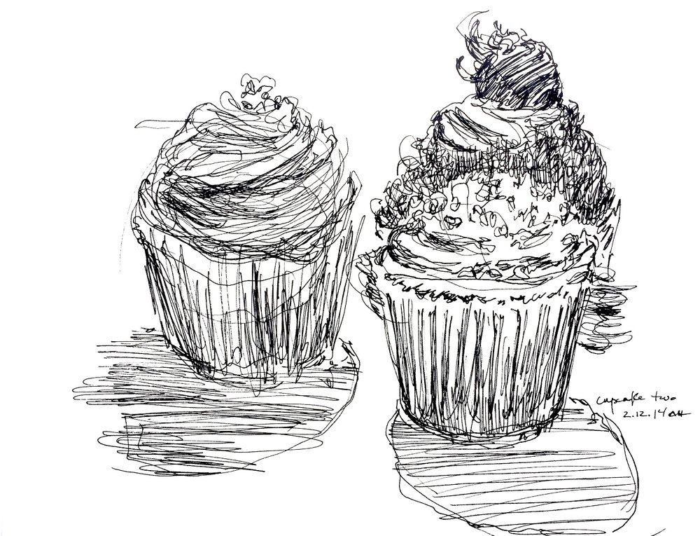 """Cupcake Sketch #2  February 2014 Pen on paper 8.5"""" x 11"""""""