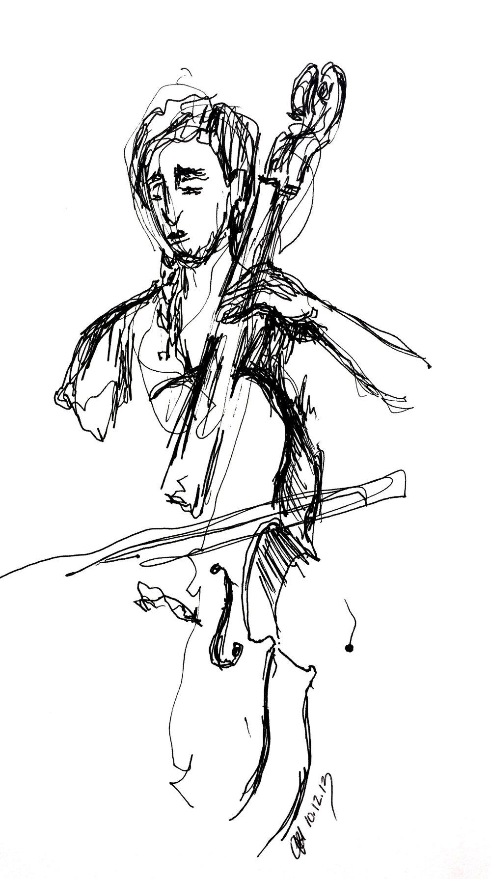 "Cellist  2013 Pen on paper 4""x7"""
