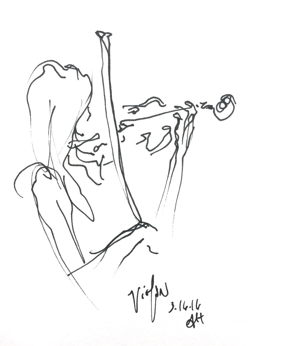 "Violinist  2016 Pen on paper 4.5""x5"""