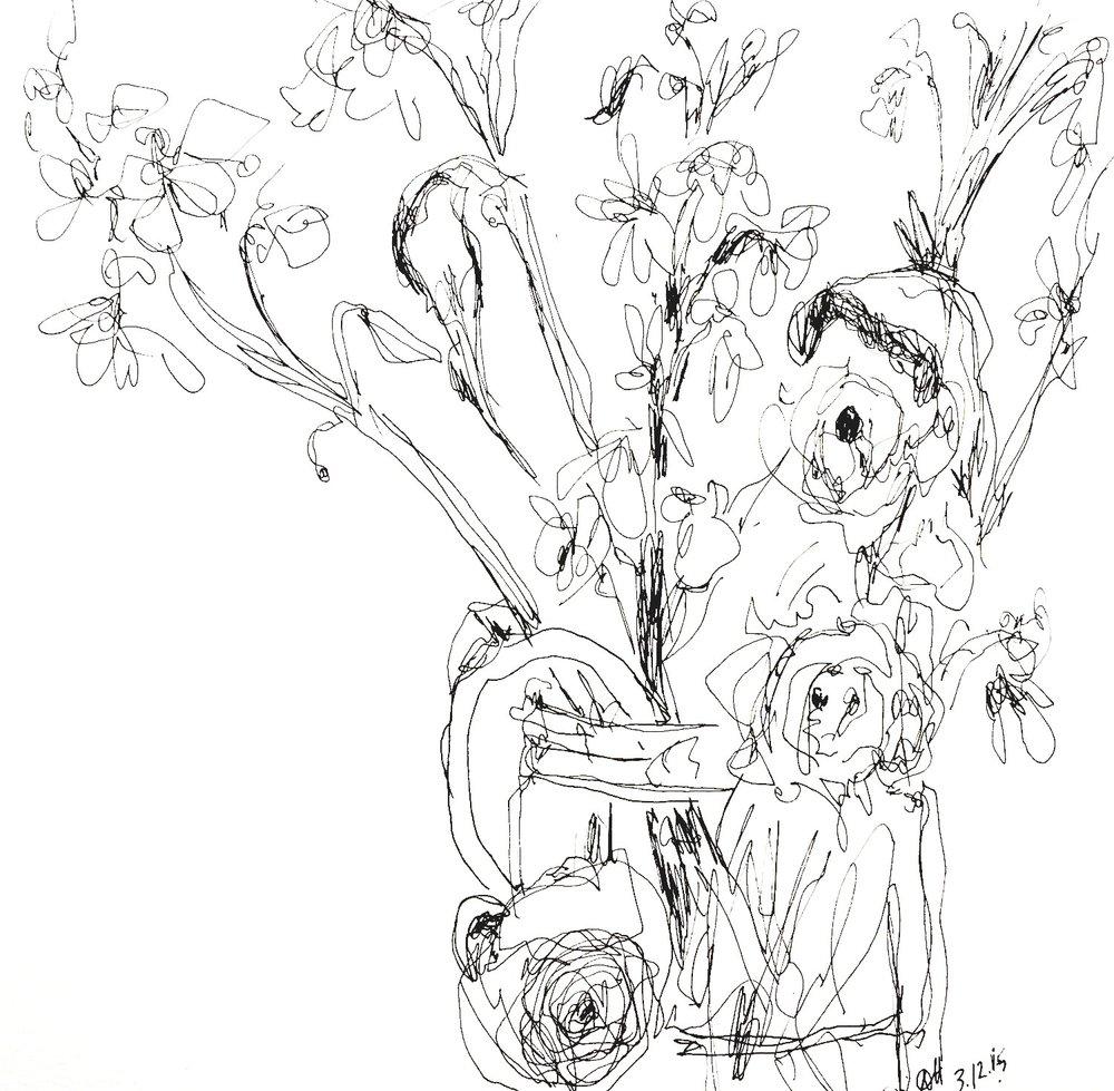 """Arrangement  2015 Pen on paper 10""""x10"""""""