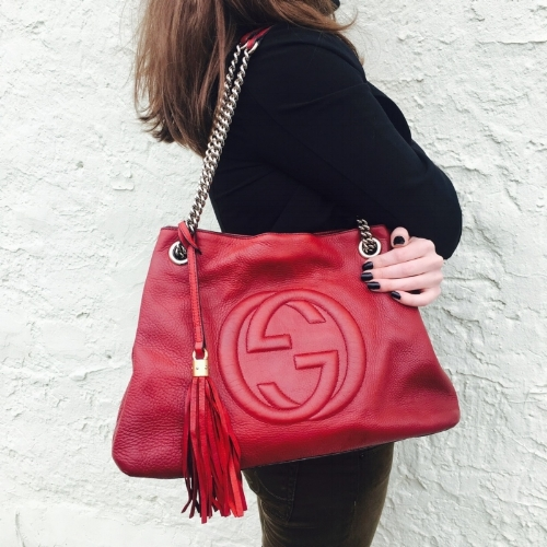 Available at our Bryn Mawr location. Call 610-519-0878 to purchase. Gucci red leather Soho bag in excellent condition $748.95.