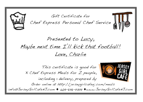 Chef Express Gift Certificate Jersey Girl Cafe