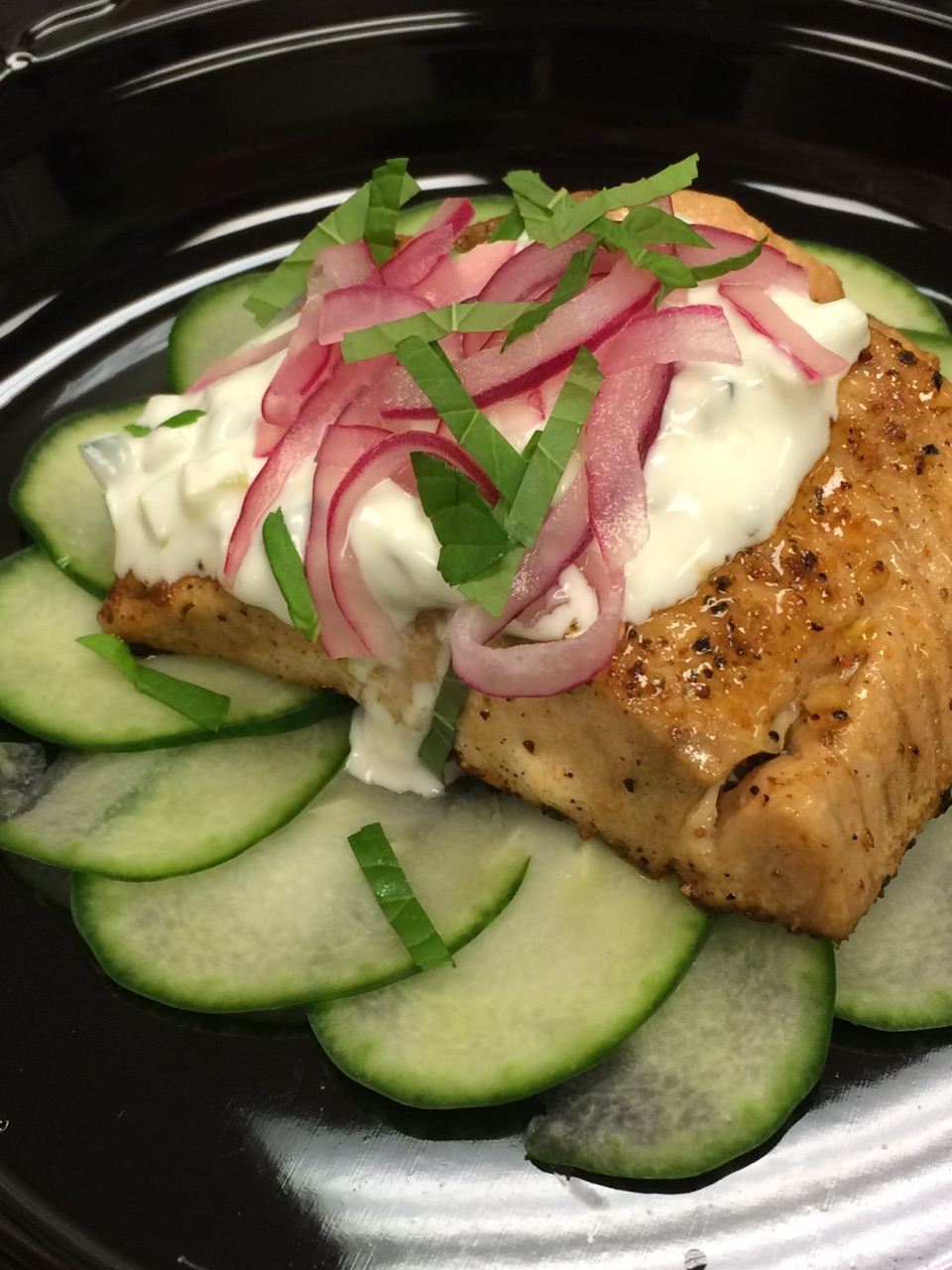 Grilled Salmon Fillet with Tatziki