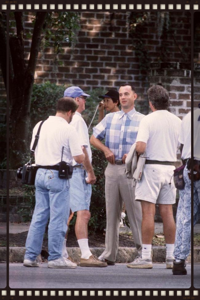 Taking a break during scenes on the set of Forrest Gump.