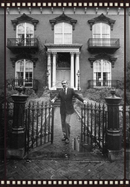 The actual Jim Williams standing in front of his house off Monterey Square.