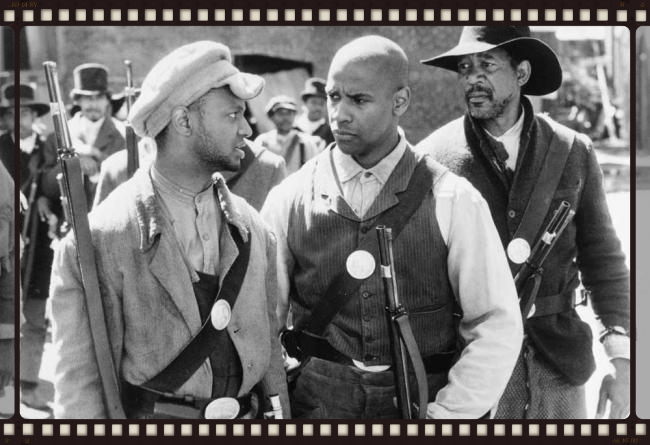Denzel Washingtonand Morgan Freeman in the movie Glory. Scenes were shot along the Riverwalk to appear as if the shots were in Boston during the Civil War.
