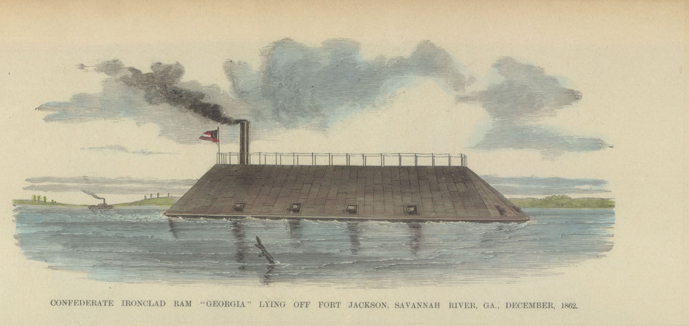 Above: An illustration of the CSS Georgia in its glory. The ship was too heavy to move in the water so it was permanently anchored at the entrance of the Savannah river to fire upon Union Ships.