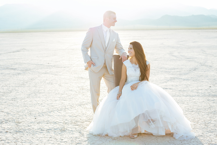desert dry lake beds las vegas trash the dress wedding photo