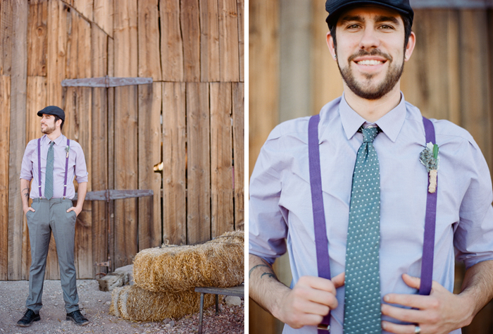 vintage lavender wedding outfit suspenders groom newspaper boy hat