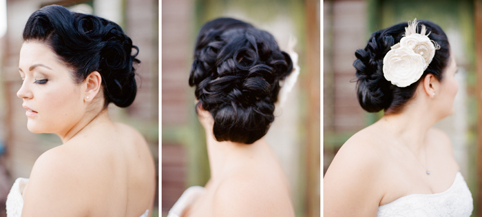 vintage pin-up updo wedding hair