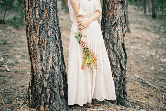 boho free people engagement dress and wild desert flowers