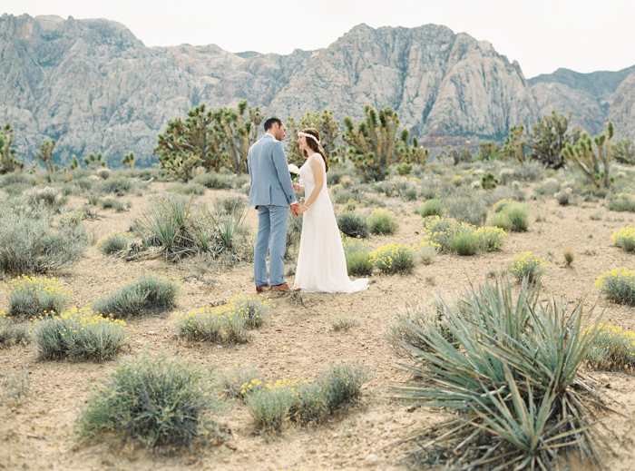 las vegas desert wedding photo joshua trees meadow