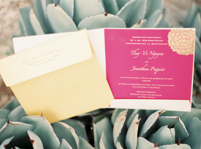 hot pink and gold vietnamese inspired wedding invitations