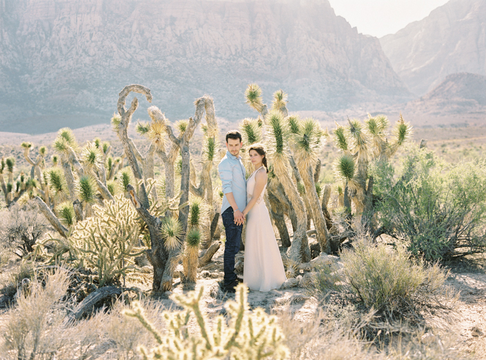 joshua trees desert engagement photo