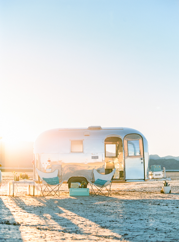 silver trailer airstream wedding rental las vegas