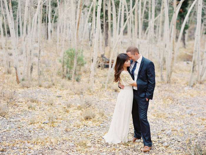 romantic vegas forest engagement photo 1