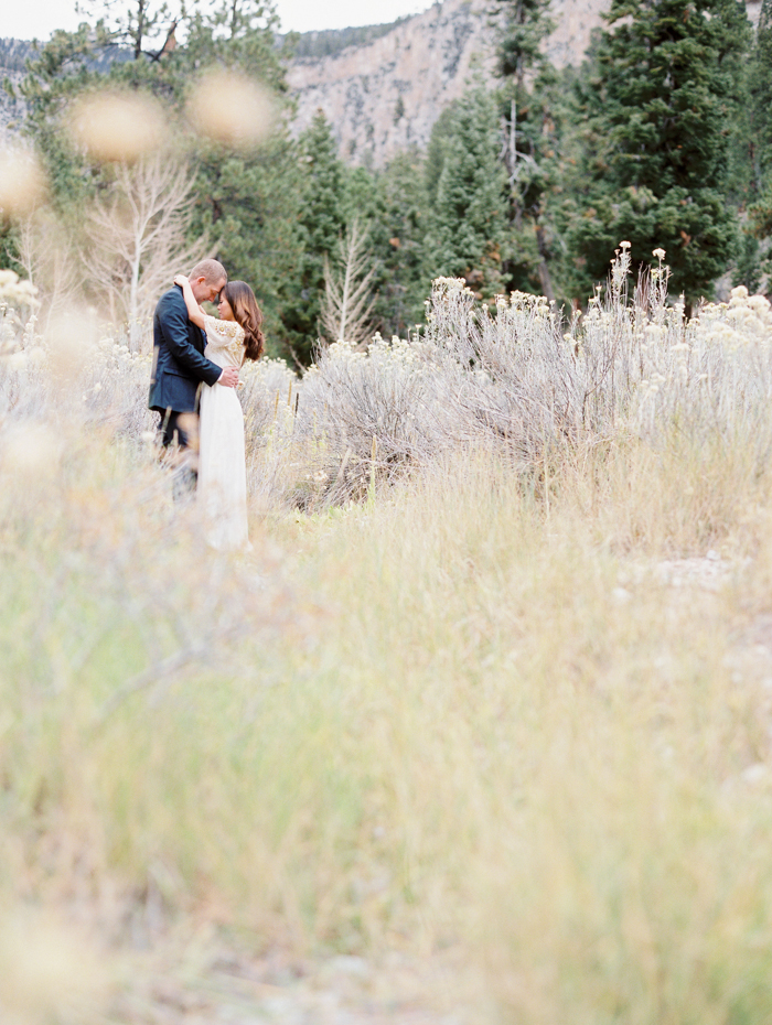 romantic vegas meadow engagement photo