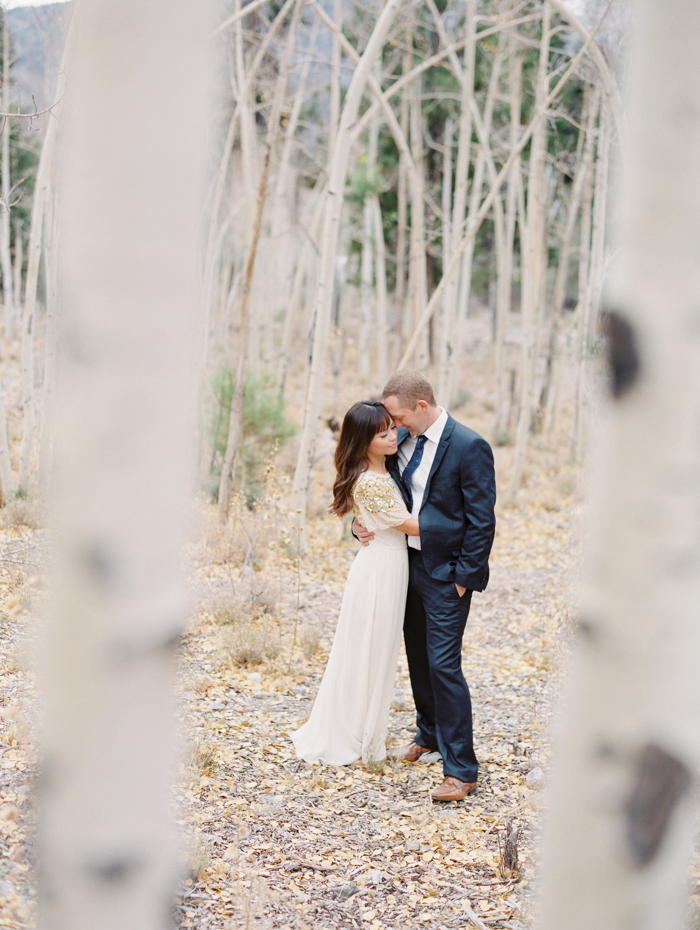 romantic vegas forest engagement photo 25