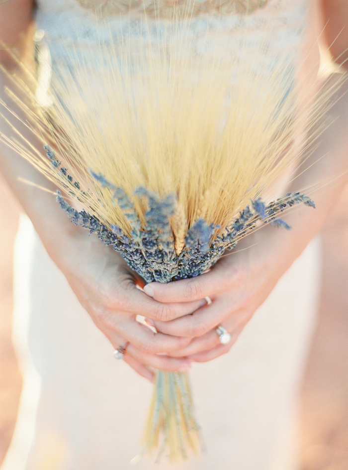 lavender and wheat boho wedding bouquet