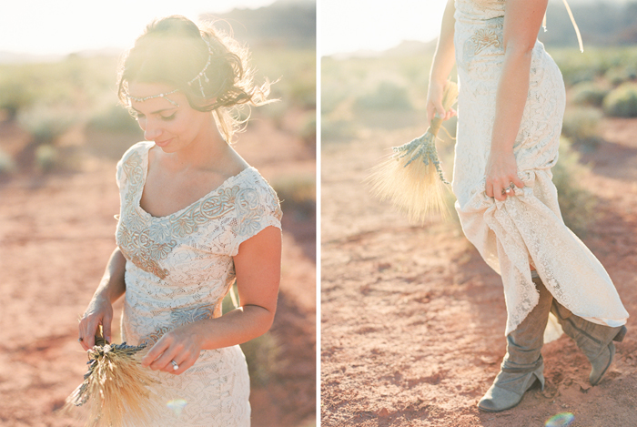 desert boho wedding dress and boots