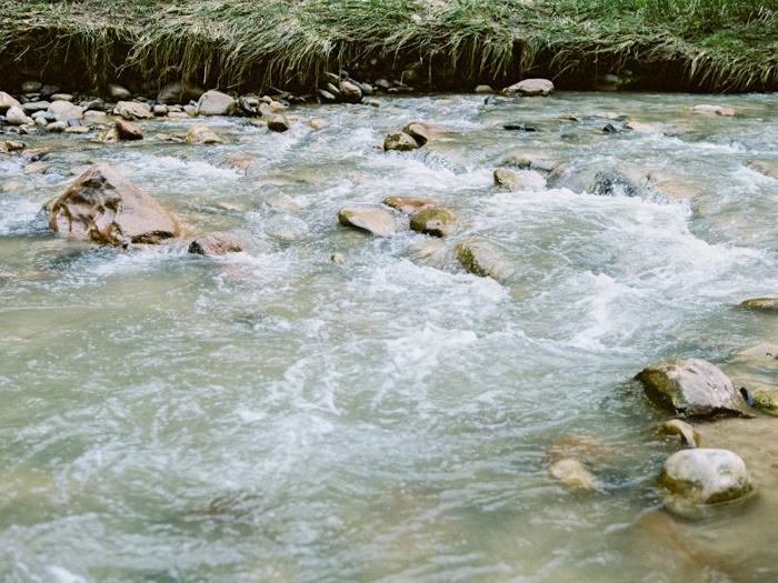 river zion national park engagement photo