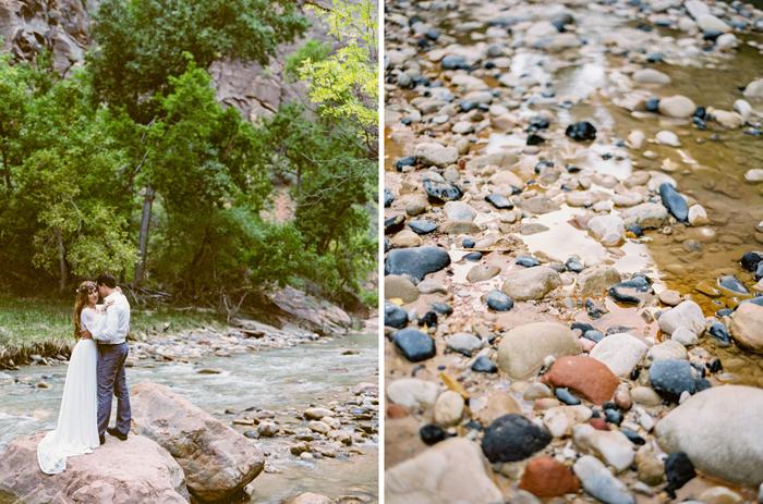 zion river national park engagement photo